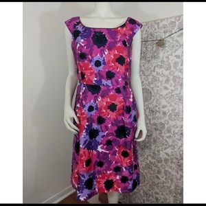 Kate Spade Pink Purple Red floral Sleeveless Dress